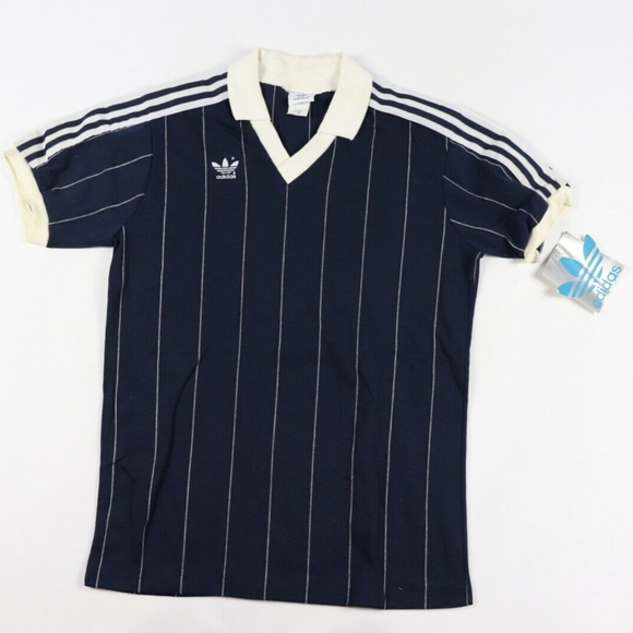 Vintage 80s New Adidas Soccer Jersey Striped Navy